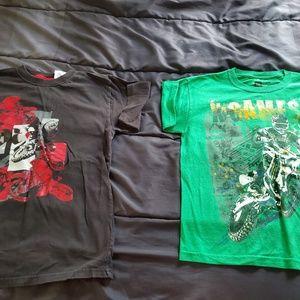 boys 10/12 graphic tshirts green & black
